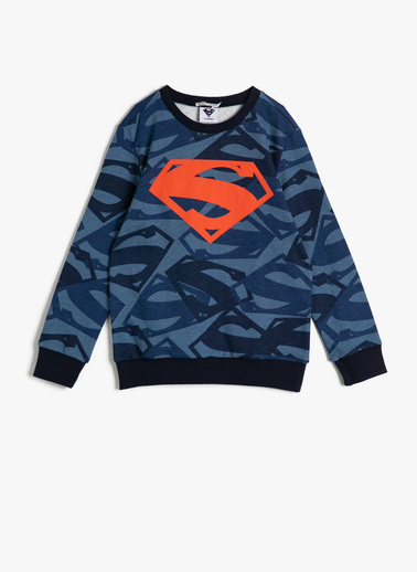 Koton Kids Superman Lisansli Baskili Sweatshirt Mavi